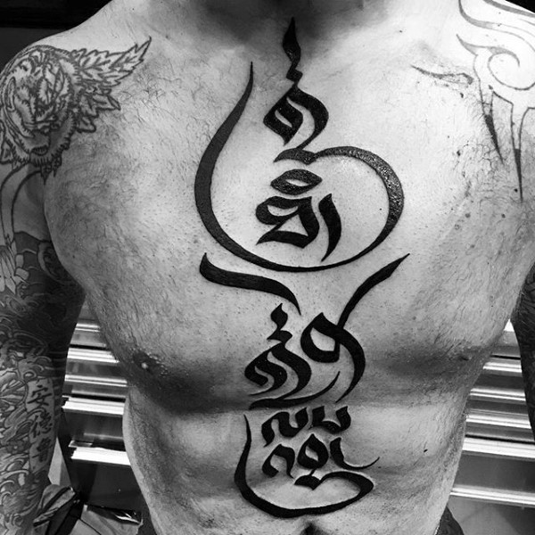 Hinduism style large black ink symbols tattoo on whole chest