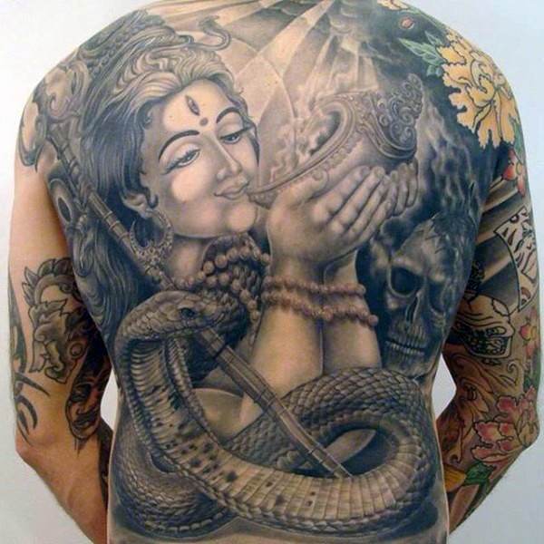Hinduism themed black ink whole back tattoo of woman Goddess with human skull and snake