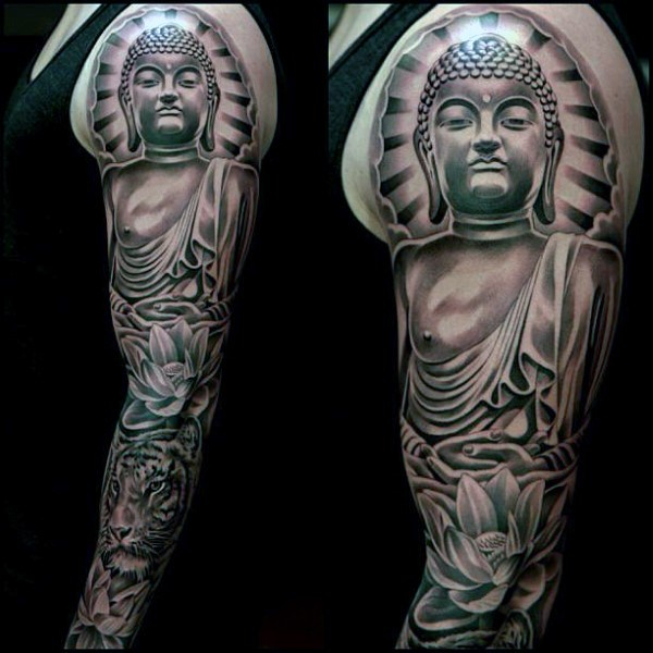Hinduism themed colored sleeve tattoo of Buddha statue combined with tiger and lotus flower