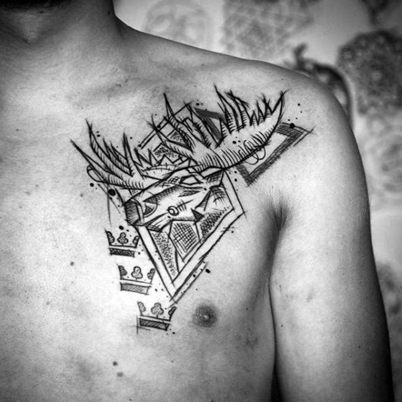 Homemade black ink abstract chest tattoo of elk and geometrical figures
