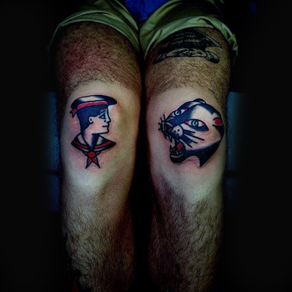 Homemade illustrative style knees tattoo of sailor and black panther