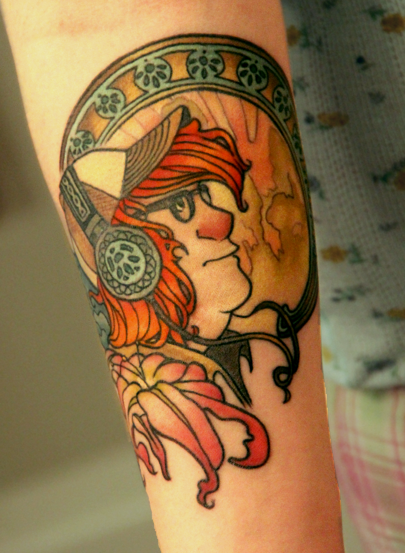 Homemade illustrative style man with headset and flower tattoo on arm