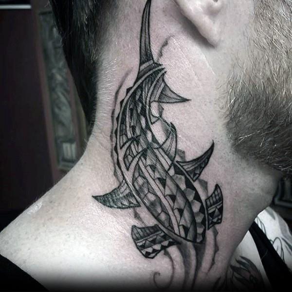 Homemade like black ink Polynesian style neck tattoo of hammerhead shark