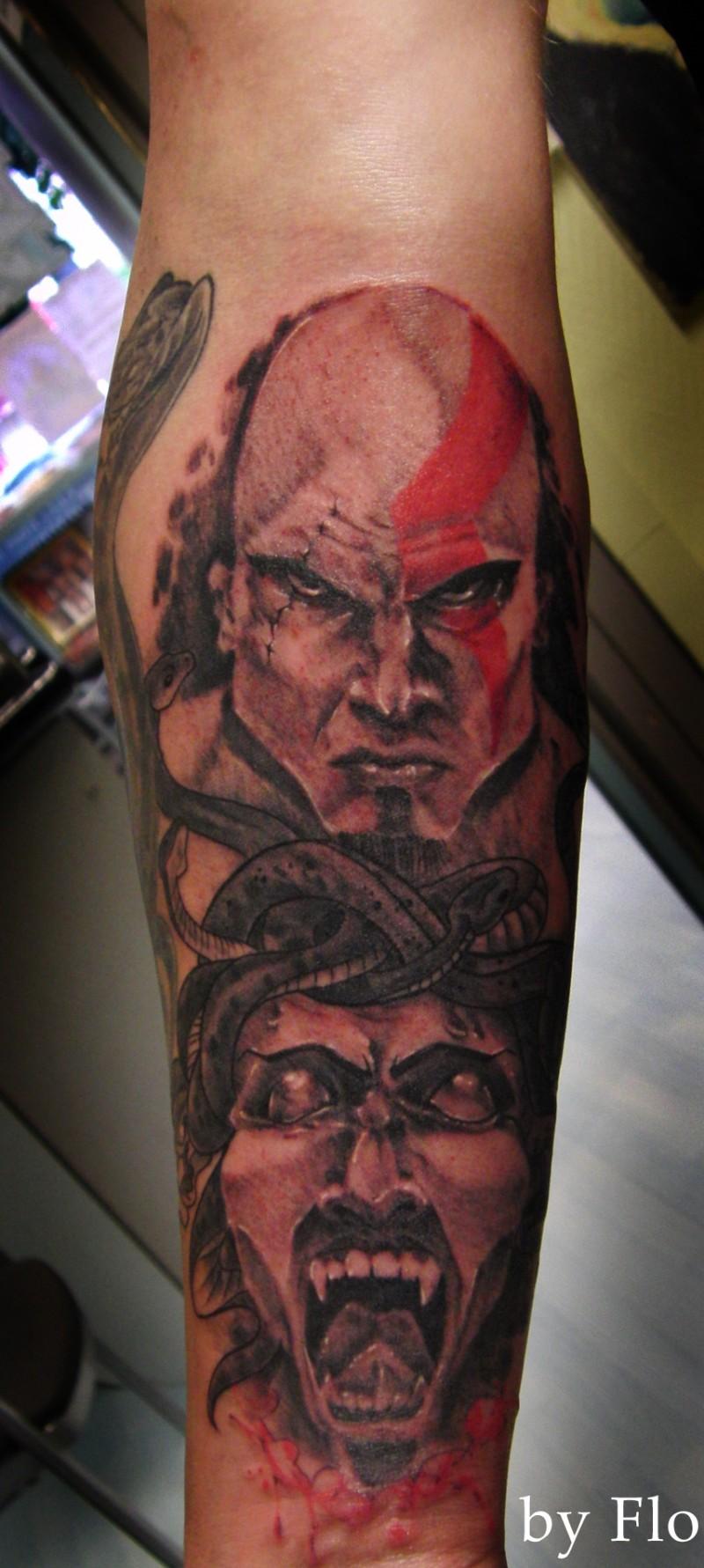 Homemade like colored big barbarian portrait tattoo on forearm with Medusa head
