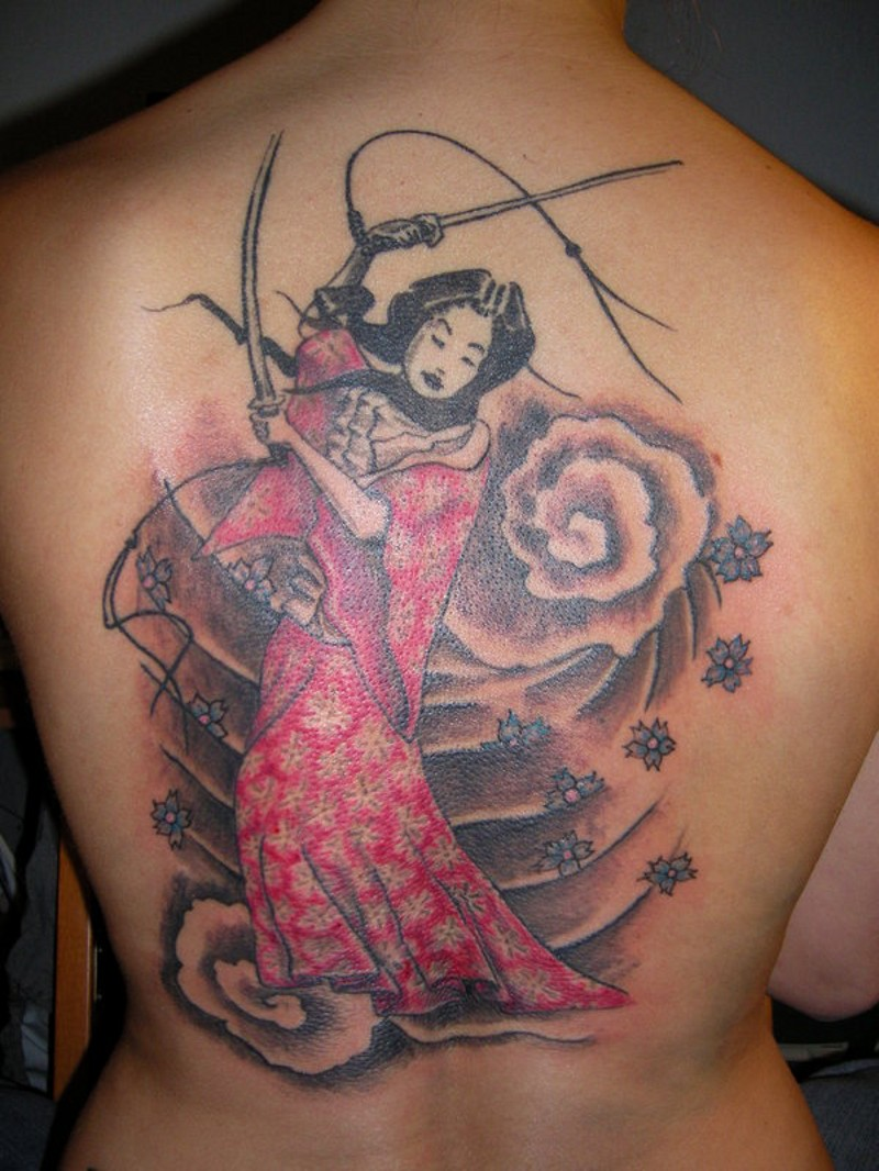 Homemade like simple painted geisha dancing with swords tattoo combined with flowers