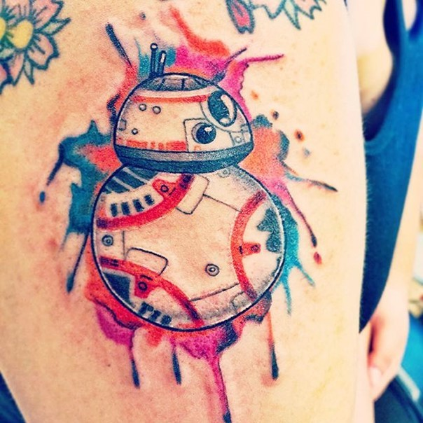 Homemade like watercolor new episode droid tattoo on arm zone