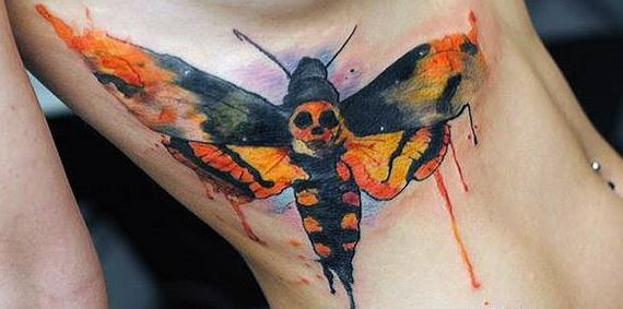 Homemade like watercolor side tattoo of night butterfly