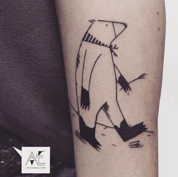 Homemade style black ink arm tattoo of big bear