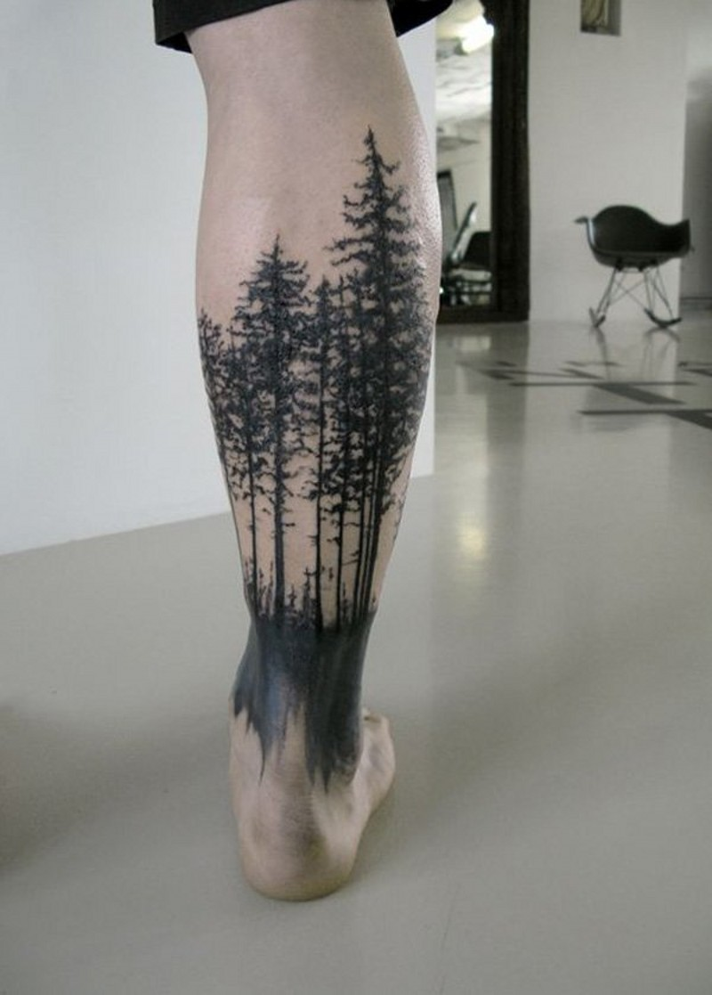 Homemade style black ink dark forest tattoo on ankle