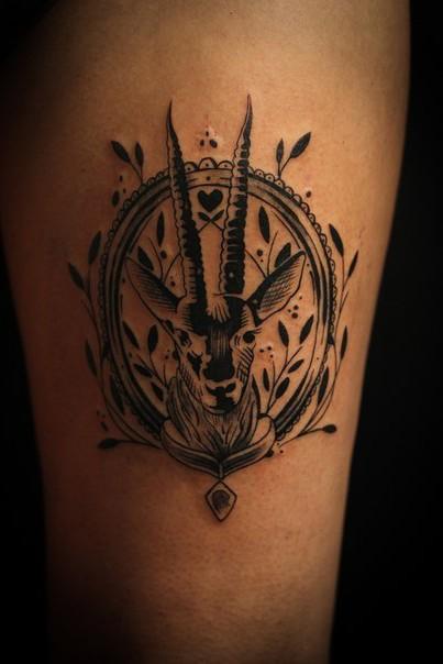 Homemade style black ink tattoo of gazelle portrait