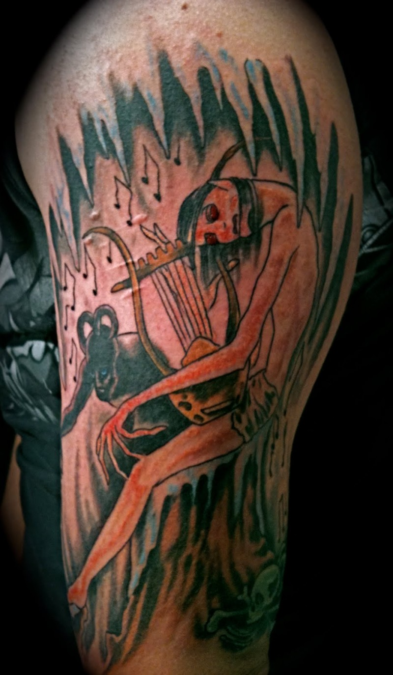 Homemade style colored arm tattoo of ancient musician