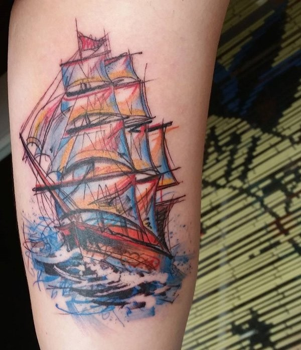 Homemade style colored arm tattoo of beautiful sailing ship