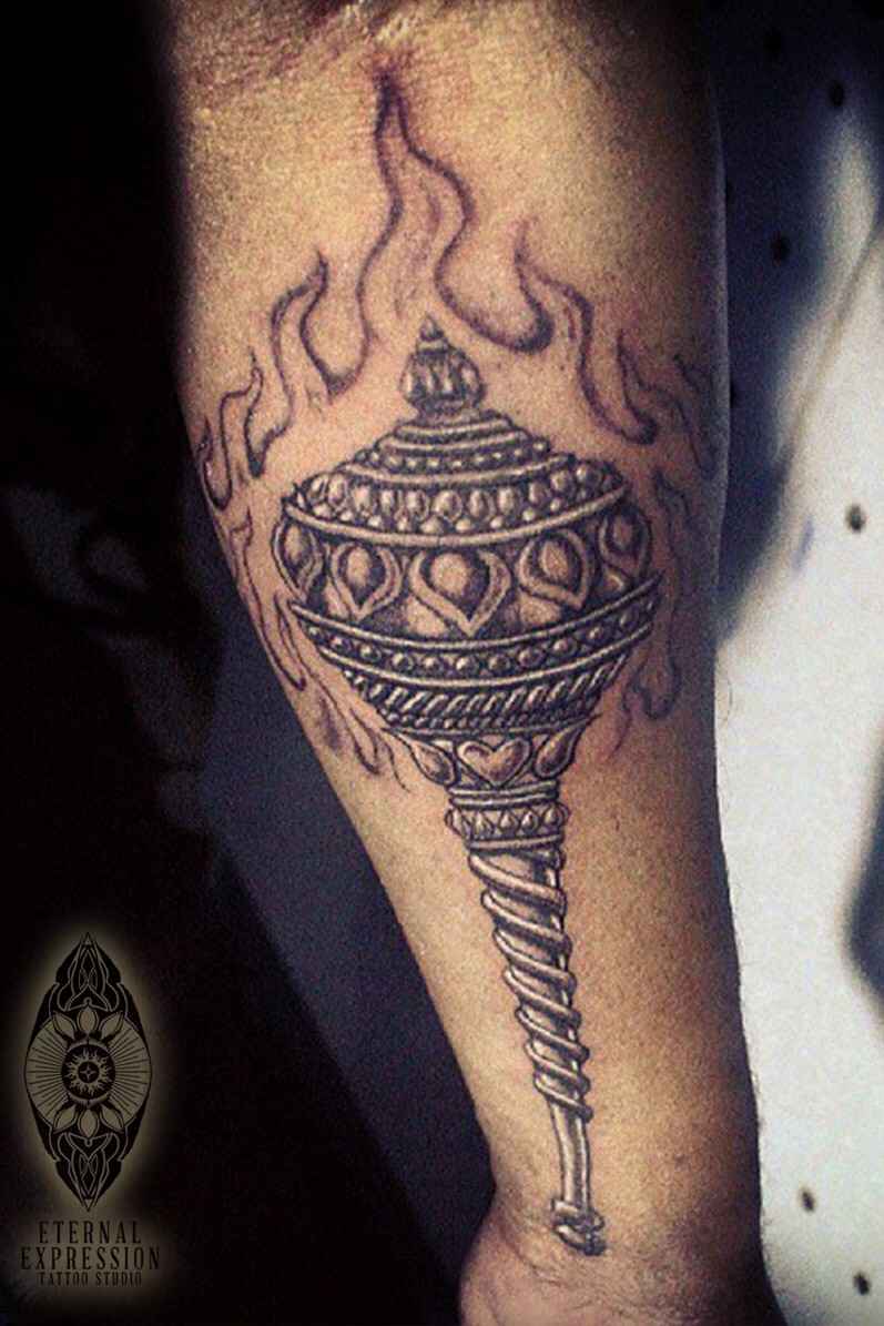Homemade style colored arm tattoo of large scepter