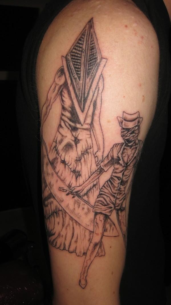 Homemade style colored big shoulder tattoo on Silent Hill monsters