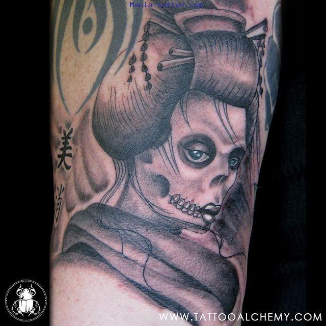 Homemade style colored demonic geisha tattoo