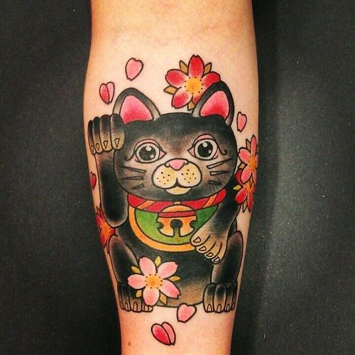Homemade style colored forearm tattoo of small maneki neko japanese lucky cat and multicolored flowers