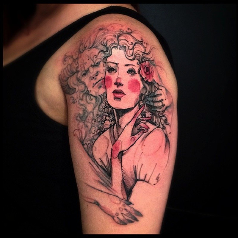 Homemade style colored shoulder tattoo of woman with flowers and demonic face