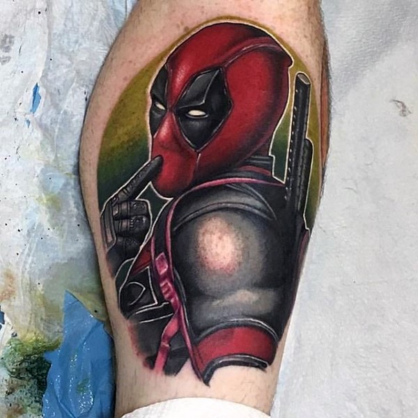 Homemade style colored tattoo of cute Deadpool with swords