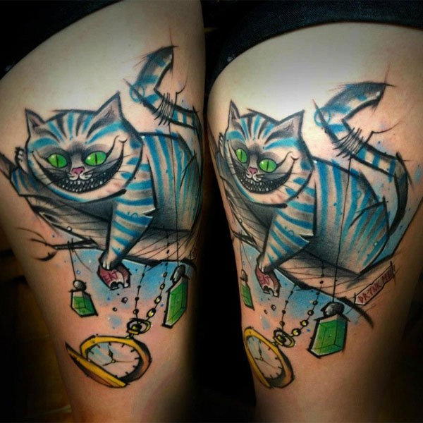 Homemade style colored thigh tattoo of Alice from wonderland cat and clock