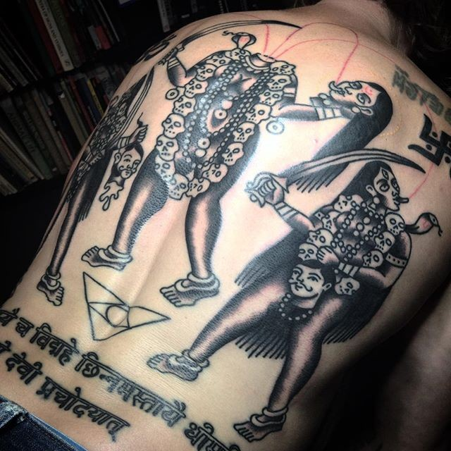 Goddess Spine Tattoo: Homemade Style Colored Whole Back Tattoo Of Creepy Goddess
