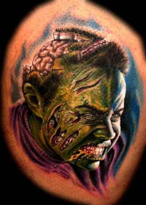Horrible portrait of zombi tattoo