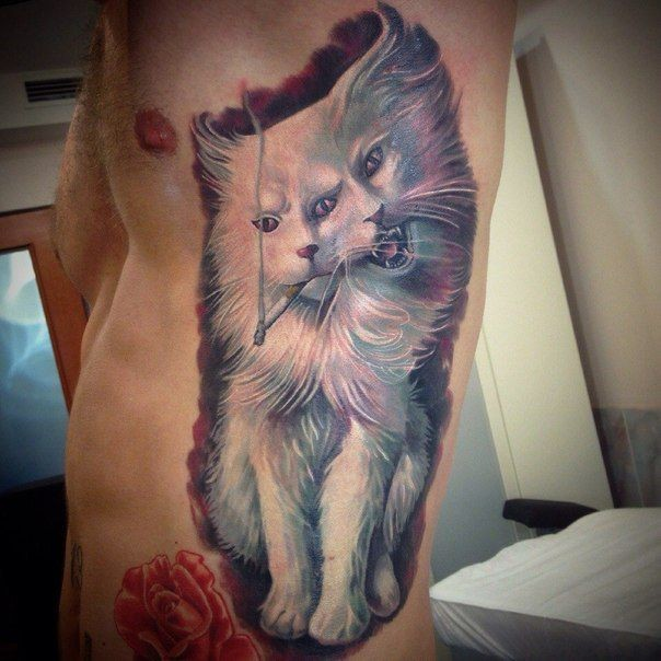 Horrible smoking white cat with two faces realistic colored side tattoo