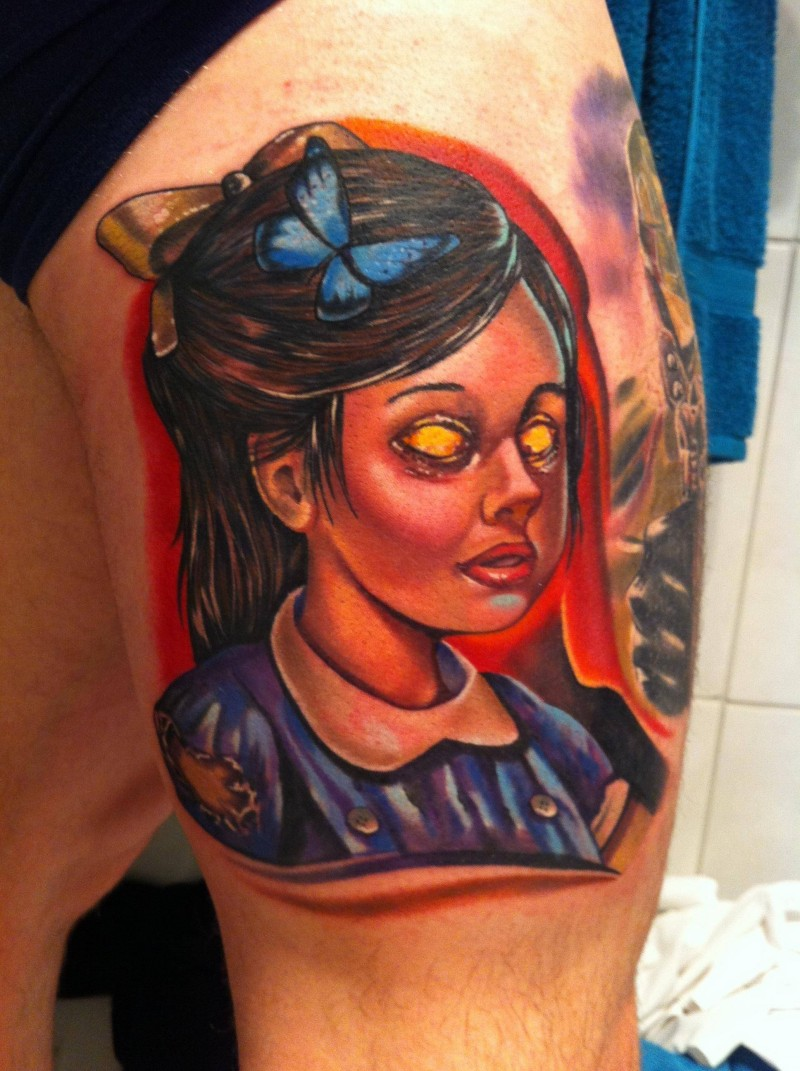 Horrifying style designed colorful thigh tattoo of evil monster girl with butterfly