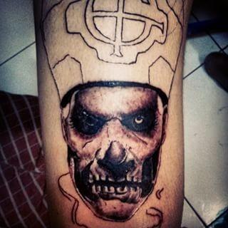 Horror movie like black and white saint man zombie tattoo