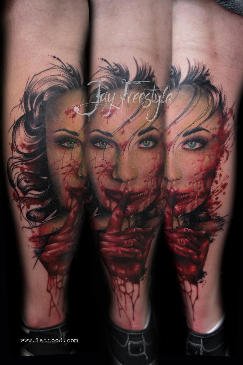 Horror movie like colored creepy bloody vampire woman tattoo on leg