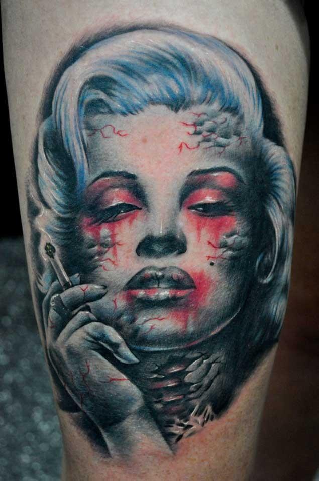 Horror movie like colored smoking zombie Merlin Monroe portrait