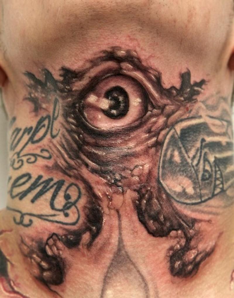 Horror movie like creepy mystical monsters with eye tattoo on back