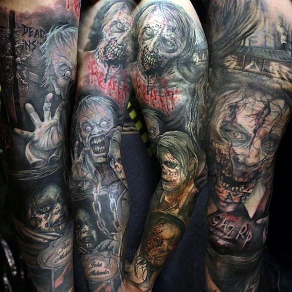 Horror movie themed big colored sleeve tattoo of various monsters