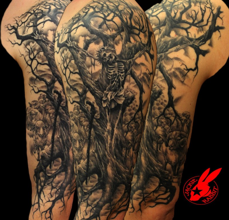 Horror style 3D detailed shoulder tattoo of creepy lonely tree with skeleton