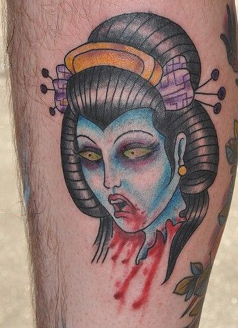Horror style asian geisha 39 s severed bloody head colored for Cut off tattoo