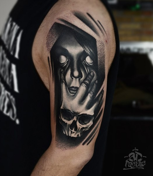 horror style black ink shoulder tattoo of creepy woman face with hand skull. Black Bedroom Furniture Sets. Home Design Ideas