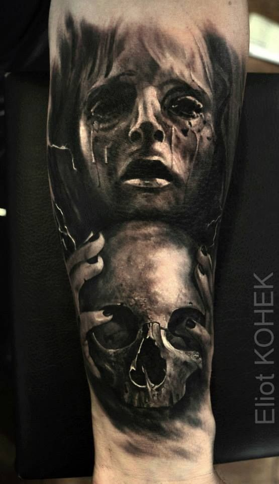 Horror style colored forearm tattoo of woman with no eyes and human skull