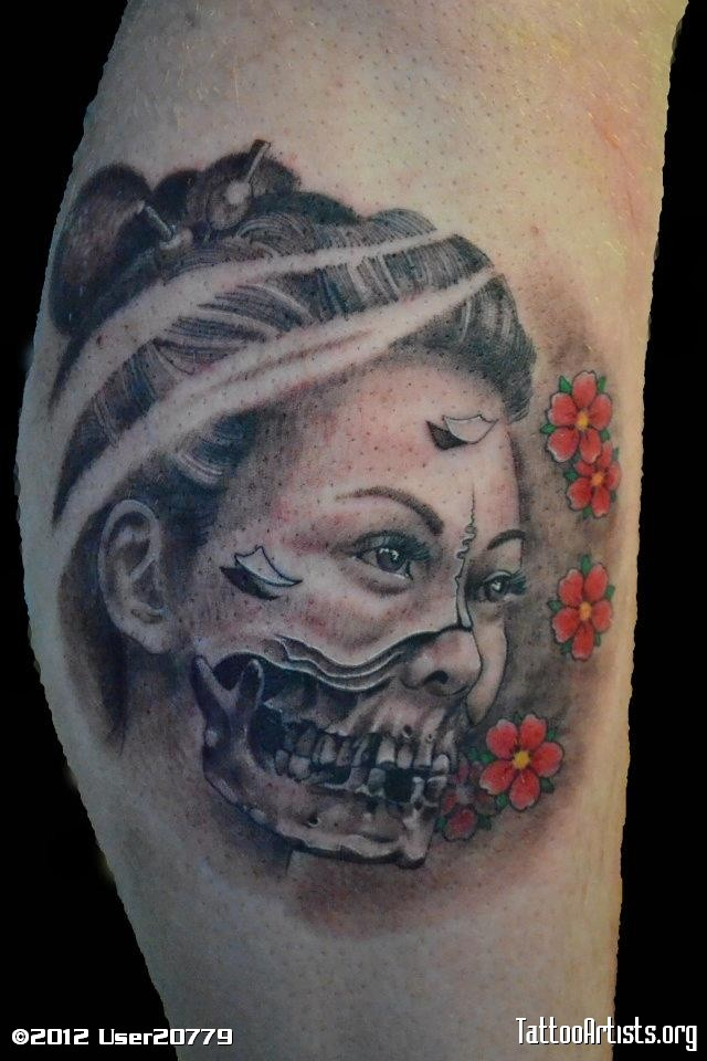 Horror style colored geisha portrait tattoo with flowers