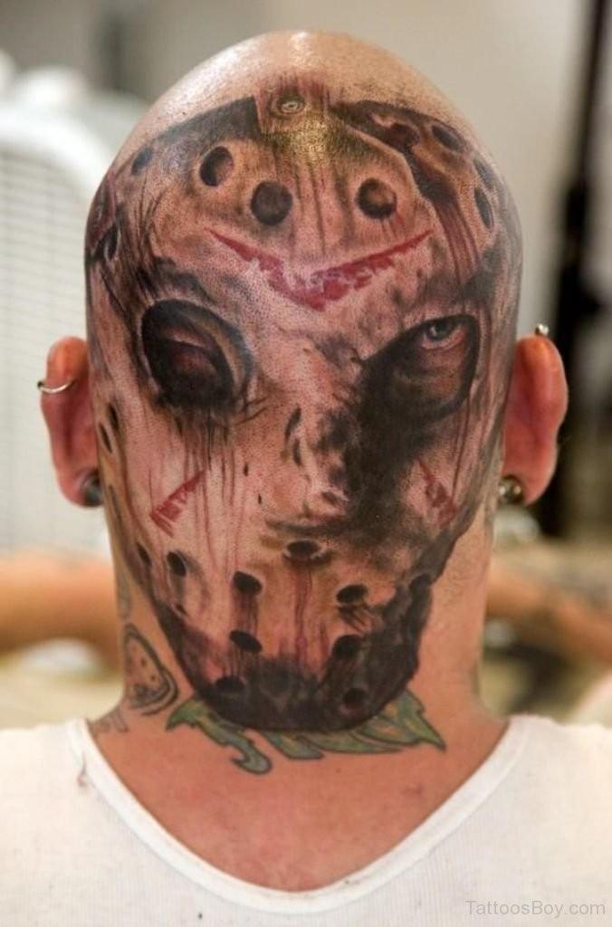 Horror style colored head tattoo of creepy Jason portrait
