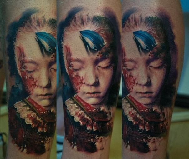 Horror style colored leg tattoo of terrifying looking girl