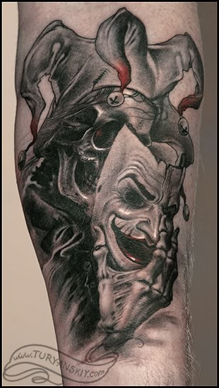 Horror style colored leg tattoo of Joker skeleton with mask