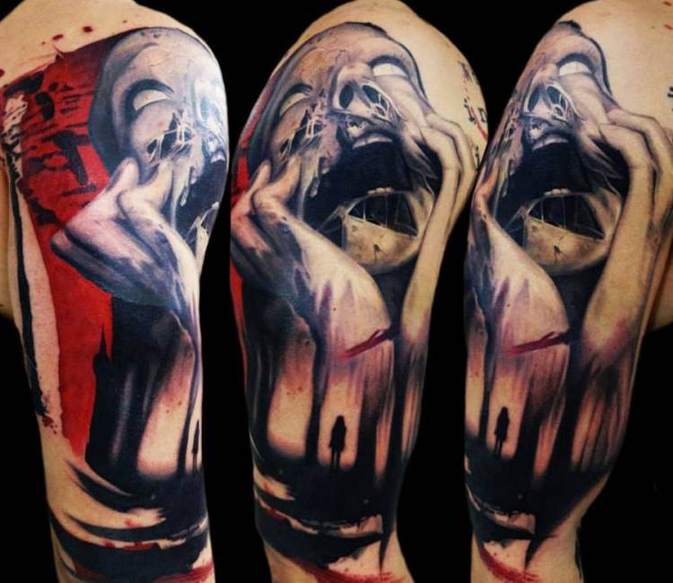 Horror style colored shoulder tattoo of creepy monster with human in dark forest