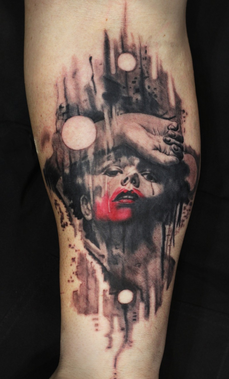Horror style colored tattoo of creepy and bloody boy face