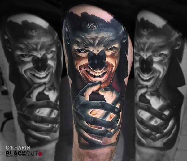 Horror style colored tattoo of evil man with light
