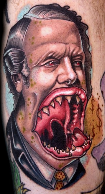 Horror style colored tattoo of monster human face