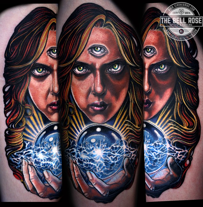 Horror style colored tattoo of mystical woman with tree eyes and magical orb