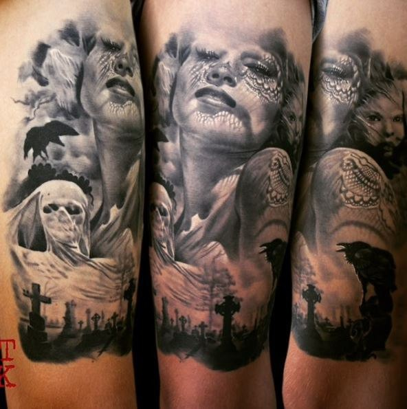 Horror style creepy looking arm tattoo of woman with mask and cemetery monsters