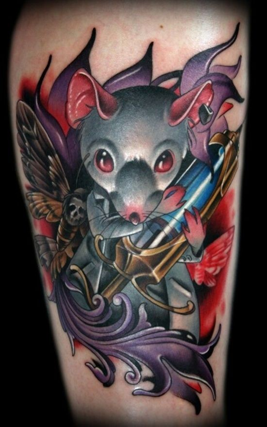 Horror style scary looking leg tattoo of mouse with needle and butterfly