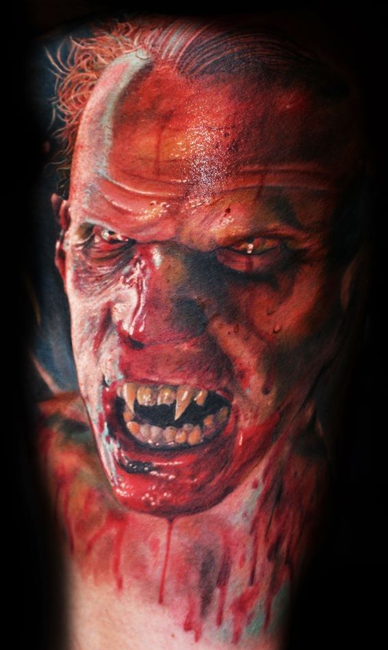 Horror style terrifying vampire man with sharp teeth and bloody face realistic looking tattoo