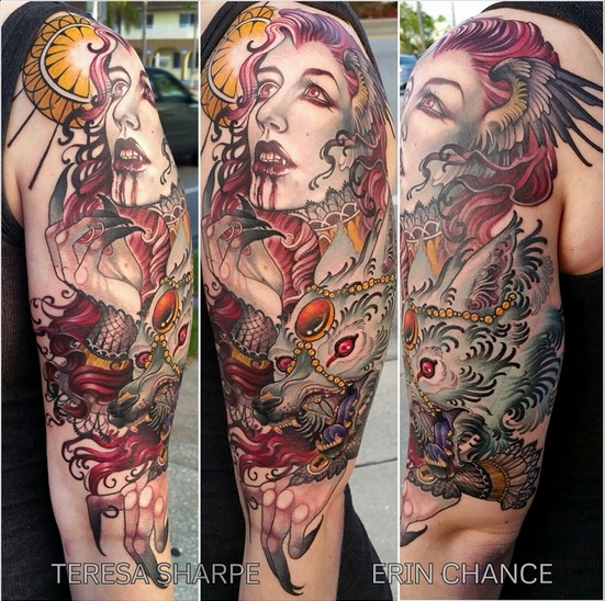 Horror themed colored bloody vampire woman tattoo on half sleeve combined with demonic dog and sun