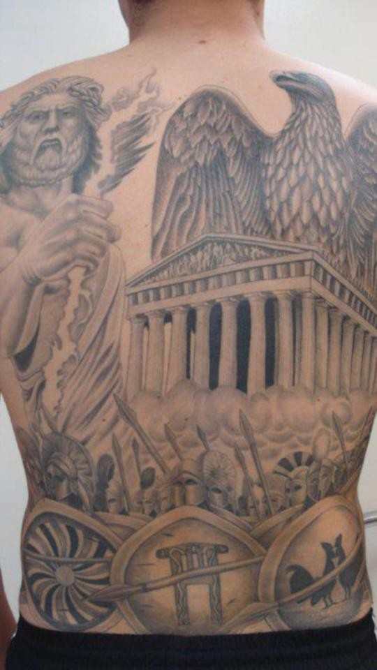 Huge black and white antic themed tattoo on whole back